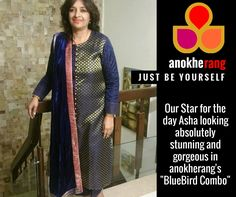 "#Love #Happy #Customers  Our Star for the day Asha looking absolutely stunning and gorgeous in anokherang's ""BlueBird Combo"" !  #anokherang #JustBeYourself #BlueBirdCombo"