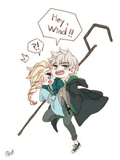 Jack in Slytherin and Elsa as a Beauxbaton. It's so cute!!!