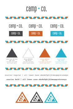 Brand board/style guidelines. I designed the roll out for Camp + Co. while living in British Columbia, Canada. This client required a branding package (logo, style guidelines, business cards, retail stamp, labels etc.). This client hand-makes jewellery and textile products to sell out of a bowler at various markets across the province. Camping and mountains are very prominent in her area and a huge part of her life so using the triangle graphic as a symbol was a must in my opinion.