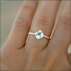 Cushion Cut Aquamarine Sterling Silver Ring With Beaded Band, Made To Order