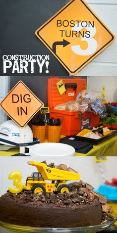 construction party food sign cake dump truck