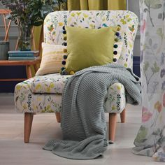 Let the colour in with our floral fabric Herbs Spring, ideal for curtain making & upholstery with a feel good design from Scottish design company bluebellgray. Floral Fabric, Linen Fabric, Textile Design, Fabric Design, Bluebellgray, Modern Prints, Wingback Chair, Home Accessories, Cool Designs