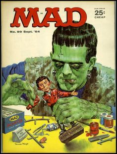 MAD magazine - Frankenstein painting a model of Alfred E. Neuman, Sept. 1964