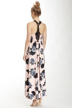 Miss Finch Floral Maxi Dress - pretty lace detail on the back!