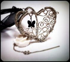 Butterfly Secrets Wire Wrapped Heart Locket Pendant