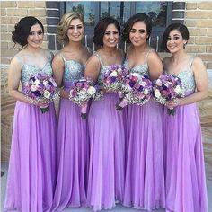 2018 Lilac Long Bridesmaid Dresses Straps Chiffon Floor Length Maid of Honor  Dresses 8dfd52ca1dee