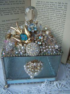 Decorative Glass Box, Jewel Encrusted, OOAK, Jewelry Box