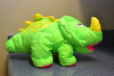 1992 Puffalumps Fisher Price Dino Roar Triceratops Green Hot Pink Plush EUC  6C #FisherPrice