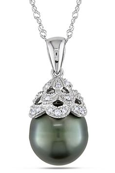 Tahitian Pearl 10-10.5mm Black Tahitian Pearl Pendant In 10k White Gold - Beyond the Rack $214.99