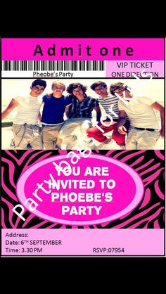 One direction invitations  Made by party bags for kids - Milton Keynes Http://partybagsforkids.weebly.com Crofty75@aol.com 07799434226