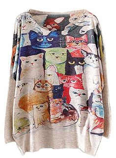KaiTingu Vintage Women's Long Batwing Sleeve Pullover Sweater Cat Family Print One size Beige