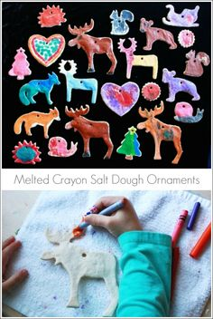 Melted Crayon Salt Dough Ornaments - An easy and beautiful decorating technique for kids! - so clever! Kids Crafts, Craft Projects, Diy Christmas Tree, Kids Christmas, Christmas Activities, Craft Activities, Holiday Fun, Holiday Crafts, Salt Dough Ornaments
