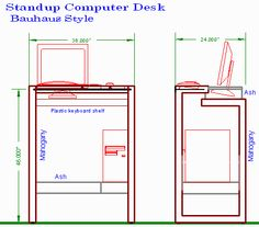 Stand-up Computer Desk in the Bauhaus Style Computer Stand For Desk, Stand Up Desk, Desk Dimensions, Bauhaus Style, Desk Plans, Diy Woodworking, Furniture Projects, How To Plan, Standing Desks