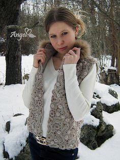 """Купить Жилет """" Winter in Paris"""" - вязаный жилет, жилет с мехом, ирландское кружево"""