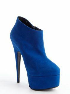 royal blue suede side zipper detail platform ankle booties