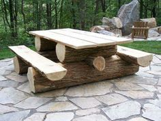 Natural log picnic table. Easy fun diy log project.