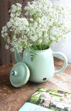Læg din buket i en vintage tekande; gypsophile, for en effekt . Queen Anne Lace, Verde Vintage, Vintage Green, Mint Aesthetic, Enamel Teapot, Enamel Dishes, Enamel Ware, Vibeke Design, Deco Nature