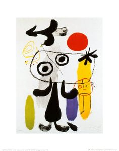 Joan Miro Figur Gegen Rote Sonne II, c. 1950.100% high quality hand painted famous abstract reproduction oil paintings on canvas-in Painting & Calligraphy from Home & Garden on Aliexpress.com | Alibaba Group