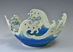 Wave Rim Bowl I love this! how fun to incorporate Hokusai - woodblocking - into ceramics:I love this! how fun to incorporate Hokusai - woodblocking - into ceramics: Slab Pottery, Pottery Bowls, Ceramic Pottery, Pottery Art, Thrown Pottery, Pottery Studio, Ceramic Clay, Ceramic Bowls, Porcelain Clay