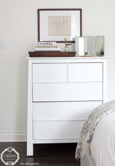 Casual chic bedroom styling Dresser As Nightstand, Interior Design Services, Casual Chic, Bedroom, Table, Furniture, Home Decor, Homemade Home Decor, Casual Chic Style