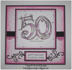 A Zenspirations 50th birthday card using Joanne Fink's 'zenspirational' style.