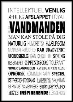 Vandmanden Plakat - Tekstcollage med stikord
