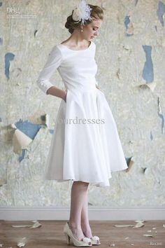 Wholesale Bridesmaid Dresses - Buy Vintage Ivory Scoop Knee-length Bridesmaid Dresses Cocktail Dresses With Three Quarter Sleeves Satin, $85.23 | DHgate