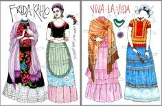 Collection of pop culture paper dolls, including Frida Kahlo, David Bowie, and Scout Finch