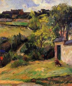 """""""Rouen Vorort"""", öl auf leinwand von Paul Gauguin (1848-1903, France)"""