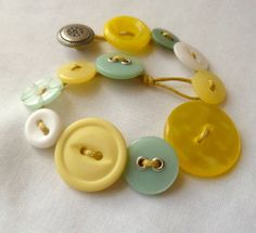 Button Bracelet Aqua & Yellow Spring Colors Early by HollynSage, $14.00