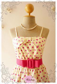 POLKA DOT  Vintage Style Dress Summer DressPink Polka by Amordress, $42.00