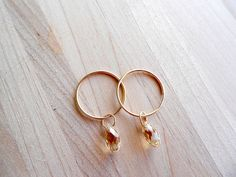 Double Hoop Gold & Swarovski Crystal Earrings in by TheMakeShoppe, $9.95