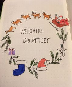 Bullet Journal December Planning Hand drawn wreath