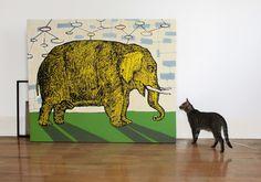 """Artist chileno Sebastian Vargas; """"elefante amarillo"""", en 100 curators collections"""