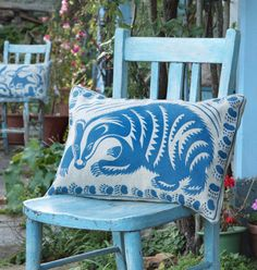 Peaceable Kingdom Cushions by Hugh Dunford Wood - Shadow Blue Cat - Handmade Cushions printed on Organic Scottish Linen