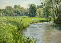 """By the river Coln"" (2012) [Sold] By Peter Barker, from Banbury, Oxfordrshire, England (current location, South Luffenham, England) - oil on board; 14 x 20 in - http://www.peterbarkerpaintings.co.uk/ https://www.facebook.com/PeterBarkerARSMA"