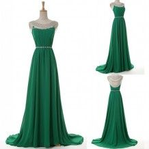Modern Scoop Beading A-line Green Long Bridesmaid Dress For  Wedding Party