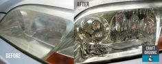 Before and After - Homemade Headlight Oxidation Cleaner