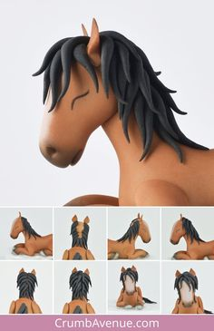 Fondant Horse Tutorial, Fondant Figures Tutorial, Cake Topper Tutorial, Polymer Clay Cake, Polymer Clay Animals, Polymer Clay Crafts, Horse Cake Toppers, Fondant Toppers, Fondant Cakes