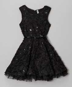 Look at this Beautees Black Rose Skater Dress on #zulily today!