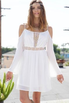 HIPSTER LACE OFF SHOULDER DRESS - WHITE  Flow free in this loose fit off shoulder dress. The semi fit and flare cut with peek-a-boo lace detailing adds just enough sexy to this totally cute dress.   #obsezz #fashion #style #boho #bohemian #festival #dress #dresses #clothing #hipster #hippie #gypsy #free #love #girl #amazing #lace #white #offshoulder #chinesegp #gallofamily #ipl #netneutrality #rustysunday #gacred #gameofthrones #mcfc #signsunday #themasters