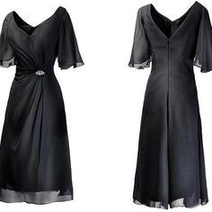 Black knee length chiffon mother of bride dress