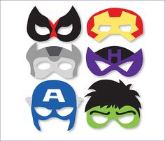Superheroes Mask Printables Avengers props Photo booth