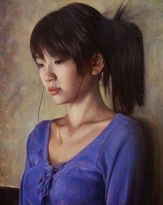 Osamu Obi (b. 1965), oil on canvas, 2006 {figurative realism art beautiful female head asian woman face portrait detail painting} osamu-obi.com