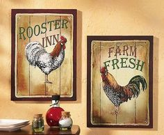 Rooster Decor | Rooster Print Set Country Decor