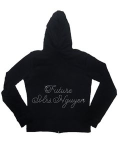 Future Mrs. Rhinestone Bride Cotton Lightweight Hoodie -  Personalized with Future Last Name. $32.95, via Etsy.