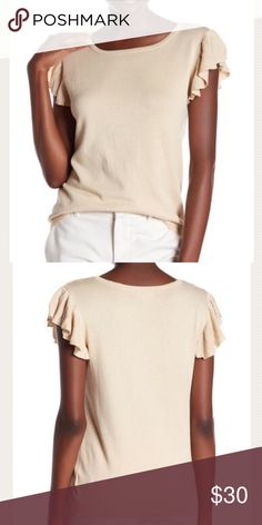 """🆕Joseph A Flutter Top 🆕Joseph A Flutter Sleeve Top A timeless classic that will sure become a favorite staple in your wardrobe! Soft fabric with a sweater like feel. Available in 5 colors! Color is Biscotti.  -Scoop neck -Short ribbed flutter sleeves -Stretch knit construction -Ribbed hem -Approx 24.5"""" length (laying flat) -Fabric: 72% rayon/28% nylon -Also available in Black, Peach Melba (pink), Sea Grass & Blue Smoke ⛔️PRICE FIRM (no offers) ⚡️CREATE a BUNDLE and SAVE an ADDITIONAL 15%…"""