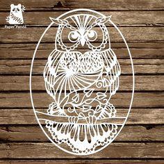 PAPER PANDA Papercut DIY Design Template 'Owl'