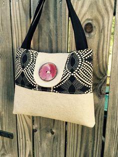 Handbag Purse Tote in Black and Cream with by DandelionHoney