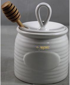 Potinho para Mel com Colher Branco 1 #mel #miel #potinho #tarro #natal Bee Gifts, Mortar And Pestle, Home Decor, Honey, Jars, Xmas, Decoration Home, Room Decor, Home Interior Design